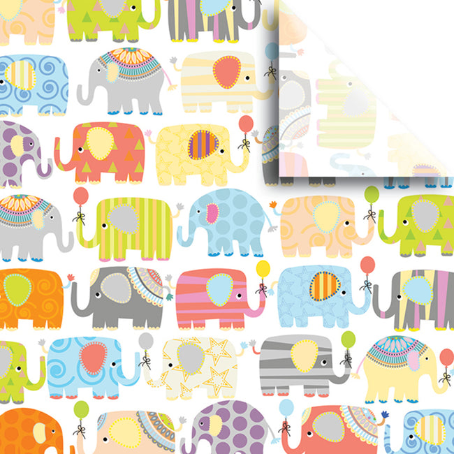 "Bulk Pack Baby Design Gift Tissue Paper 20"" x 30"", Elephants, 240 Sheets"