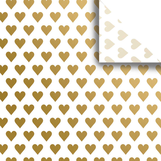 "Bulk Pack Wedding Design Gift Tissue Paper 20"" x 30"", Gold Hearts, 240 Sheets"