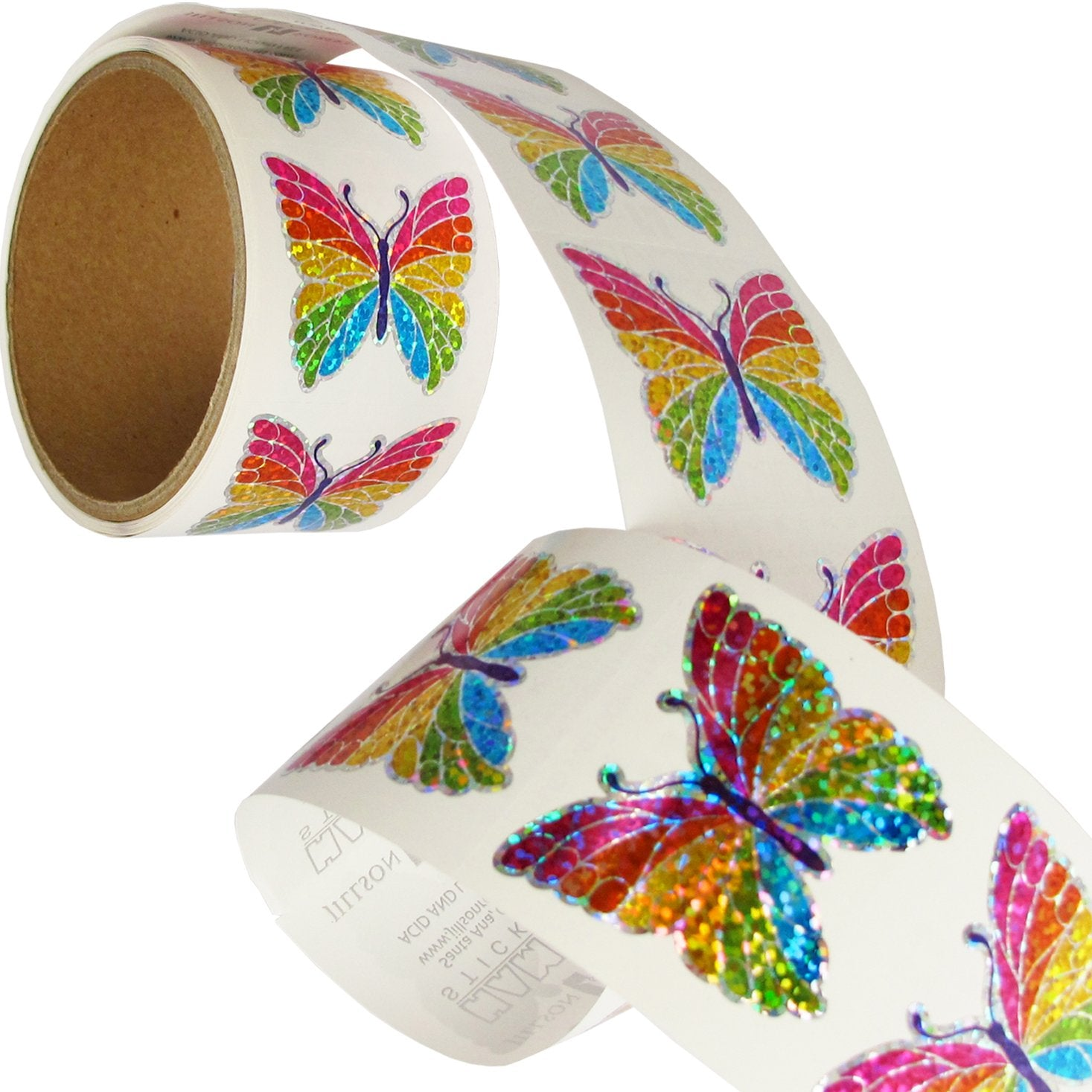 Bulk Roll Prismatic Stickers, Rainbow Butterfly (100 Repeats)