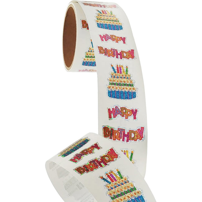 Bulk Roll Prismatic Stickers, Happy Birthday with Cake (50 Repeats)