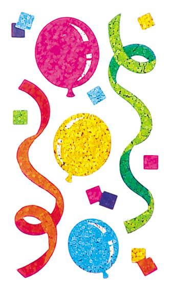 Jillson & Roberts Bulk Roll Prismatic Stickers, Balloons / Streamers (50 Repeats) - Present Paper