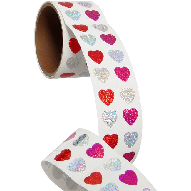 Jillson & Roberts Bulk Roll Prismatic Stickers, Mini Hearts (100 Repeats) - Present Paper