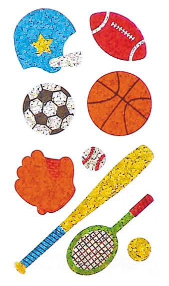 Jillson & Roberts Bulk Roll Prismatic Stickers, Mini Sports (50 Repeats) - Present Paper