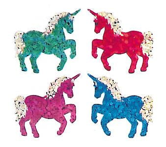Jillson & Roberts Bulk Roll Prismatic Stickers, Mini Unicorns (50 Repeats) - Present Paper