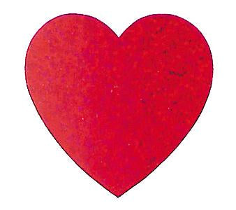 Jillson & Roberts Bulk Roll Prismatic Stickers, Red Heart (100 Repeats) - Present Paper