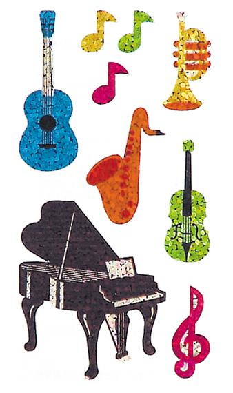 Bulk Roll Prismatic Stickers, Musical Instruments (50