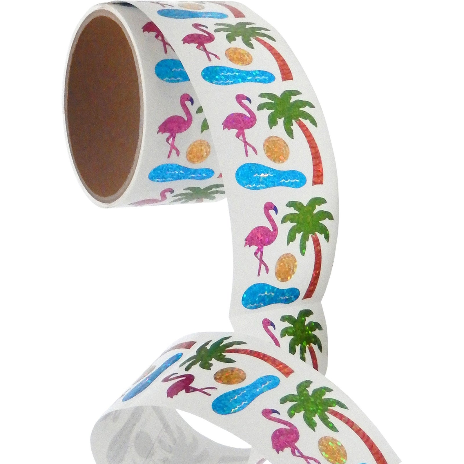Jillson & Roberts Bulk Roll Prismatic Stickers, Mini Flamingo and Palm Tree (100 Repeats) - Present Paper
