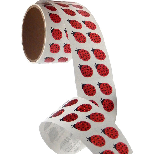 Jillson & Roberts Bulk Roll Prismatic Stickers, Mini Lady Bugs (100 Repeats) - Present Paper