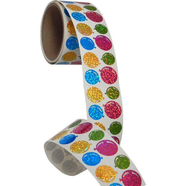 Jillson & Roberts Bulk Roll Prismatic Stickers, Mini Balloons (100 Repeats) - Present Paper