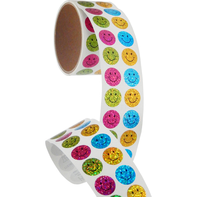 Jillson & Roberts Bulk Roll Prismatic Stickers, Mini Happy Faces (100 Repeats) - Present Paper