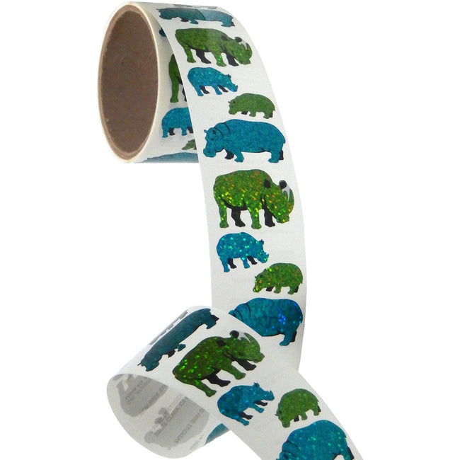 Jillson & Roberts Bulk Roll Prismatic Stickers, Rhino, Hippo and Babies (50 Repeats) - Present Paper