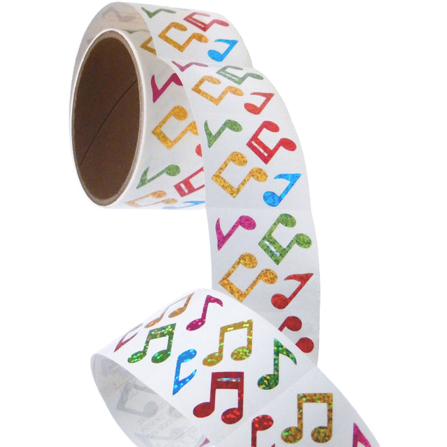 Bulk Roll Prismatic Stickers, Mini Musical Notes / Multicolor (50 Repeats)
