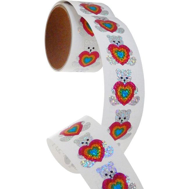 Jillson & Roberts Bulk Roll Prismatic Stickers, Teddy w/ Rainbow Heart (100 Repeats) - Present Paper