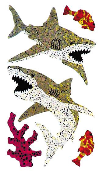 Jillson & Roberts Bulk Roll Prismatic Stickers, Great White Shark (50 Repeats) - Present Paper