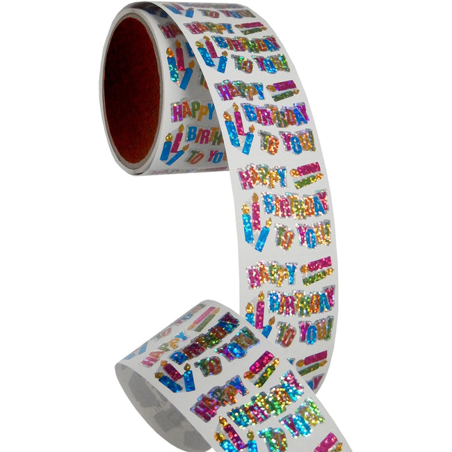 Jillson & Roberts Bulk Roll Prismatic Stickers, Happy Birthday / Candles (100 Repeats) - Present Paper