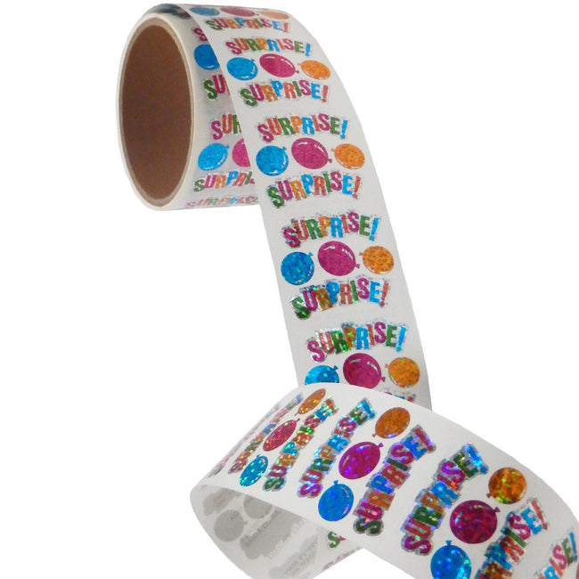 Jillson & Roberts Bulk Roll Prismatic Stickers, Surprise w/ Balloons (100 Repeats) - Present Paper