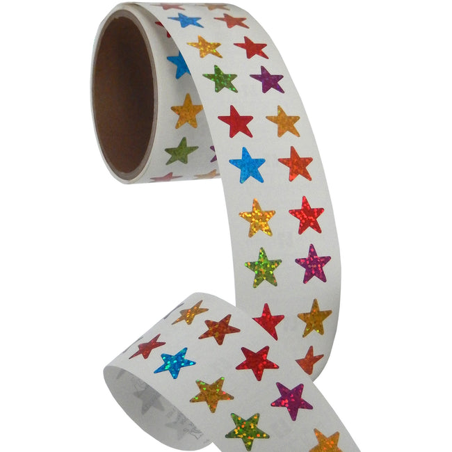 Jillson & Roberts Bulk Roll Prismatic Stickers, Mini Stars / Multicolor (50 Repeats) - Present Paper