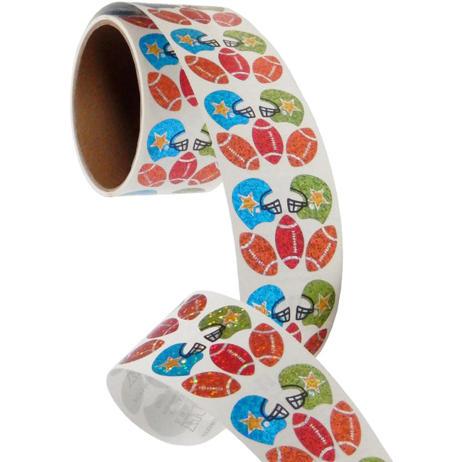 Jillson & Roberts Bulk Roll Prismatic Stickers, Mini Football (100 Repeats) - Present Paper