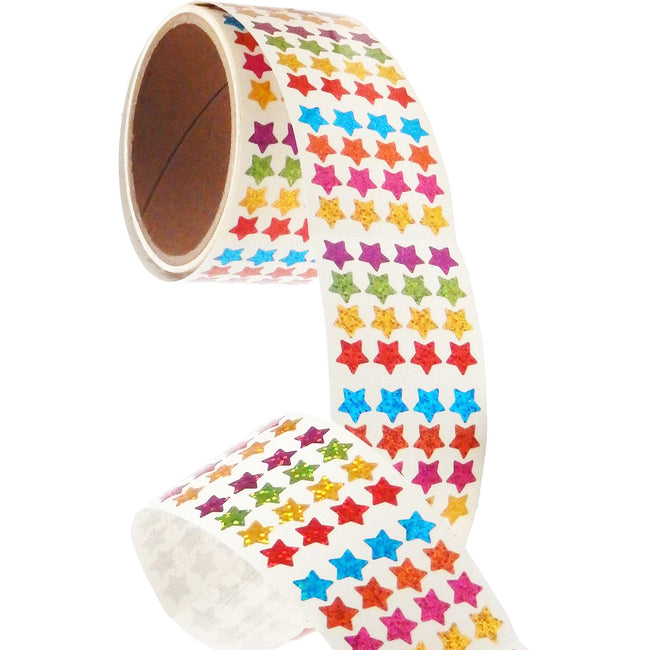 Bulk Roll Prismatic Stickers, Micro Stars / Multicolor (50 Repeats)