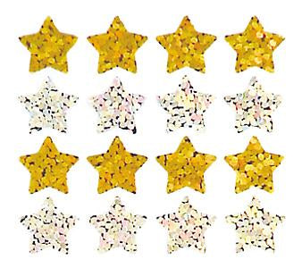 Jillson & Roberts Bulk Roll Prismatic Stickers, Micro Stars / Gold and Silver (100 Repeats) - Present Paper