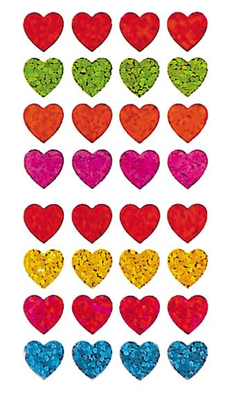 Jillson & Roberts Bulk Roll Prismatic Stickers, Micro Hearts / Multicolor (50 Repeats) - Present Paper