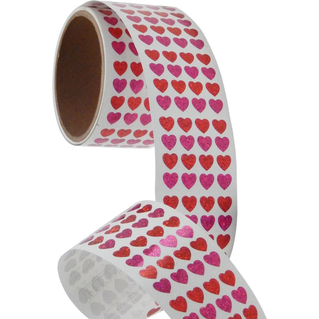 Jillson & Roberts Bulk Roll Prismatic Stickers, Micro Hearts / Red and Pink (100 Repeats) - Present Paper
