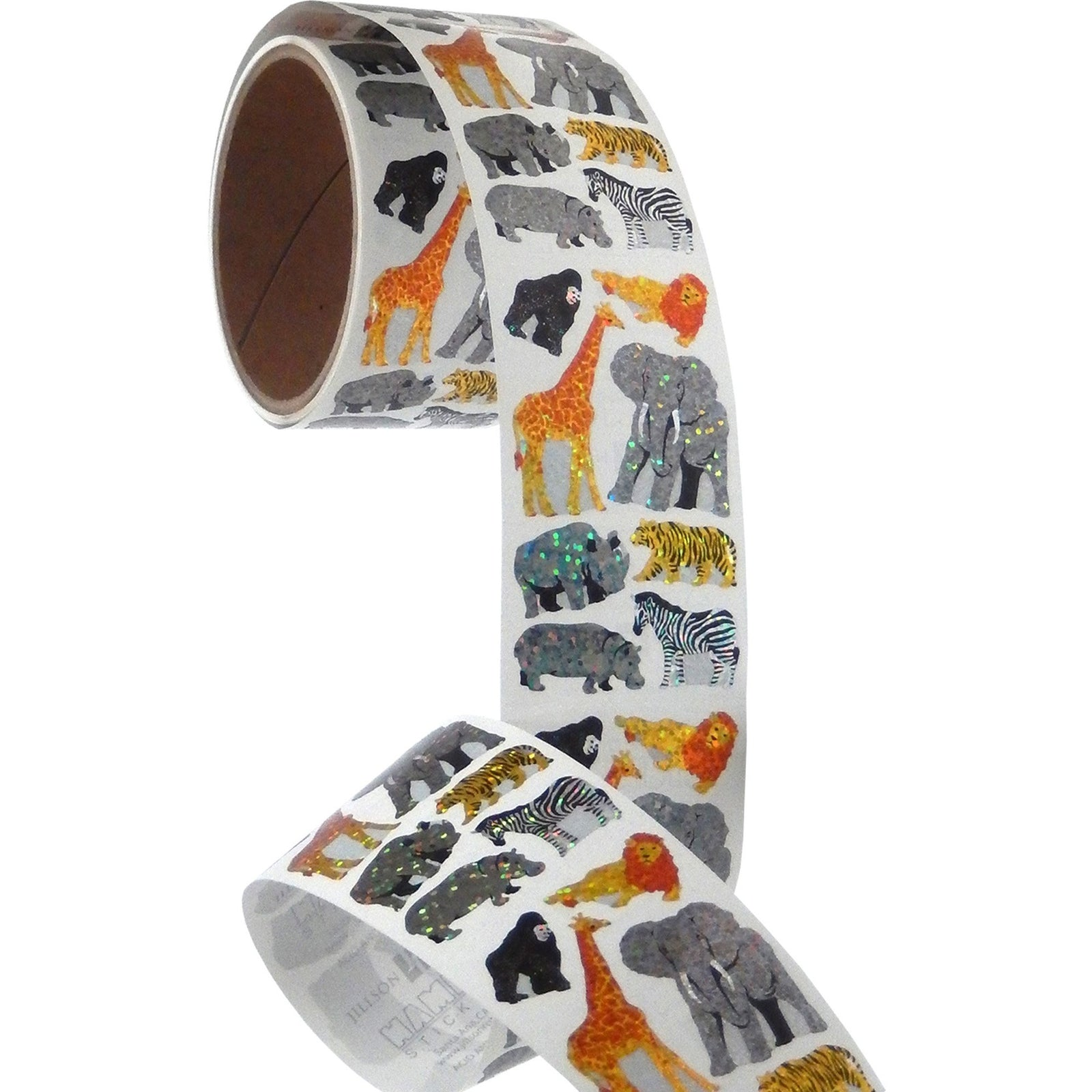 Jillson & Roberts Bulk Roll Prismatic Stickers, Safari Animals (50 Repeats) - Present Paper