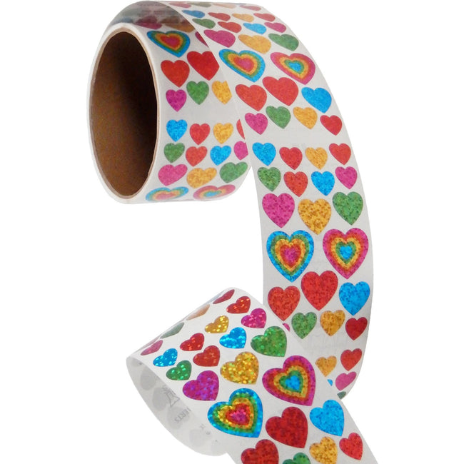 Jillson & Roberts Bulk Roll Prismatic Stickers, Assorted Hearts (50 Repeats) - Present Paper