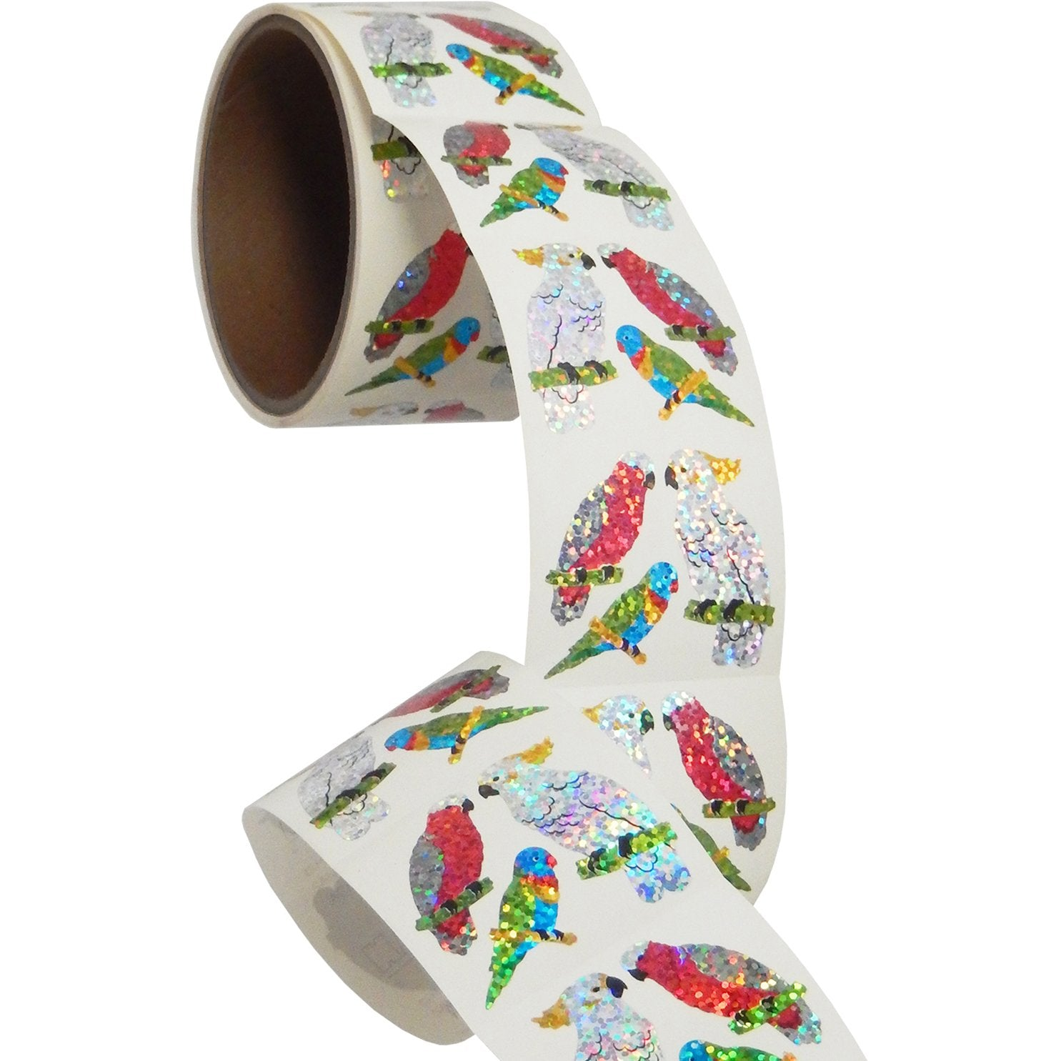 Jillson & Roberts Bulk Roll Prismatic Stickers, Exotic Birds (100 Repeats) - Present Paper