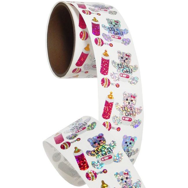 Jillson & Roberts Bulk Roll Prismatic Stickers, It's A Girl / Teddy (100 Repeats) - Present Paper