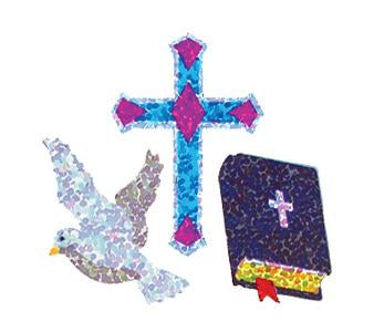 Jillson & Roberts Bulk Roll Prismatic Stickers, Dove / Cross / Bible (100 Repeats) - Present Paper