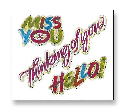 Jillson & Roberts Bulk Roll Prismatic Stickers, Miss You / Thinking Of You / Hello (100 Repeats) - Present Paper