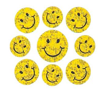 Bulk Roll Prismatic Stickers, Micro Happy Faces (100 Repeats)