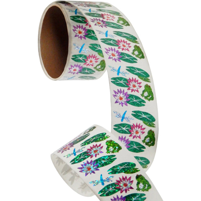 Jillson & Roberts Bulk Roll Prismatic Stickers, Lily Pads / Frog / Dragonfly (100 Repeats) - Present Paper