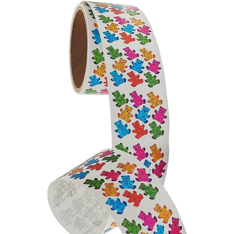 Bulk Roll Prismatic Stickers, Baby Girl / Teddy (100 Repeats)