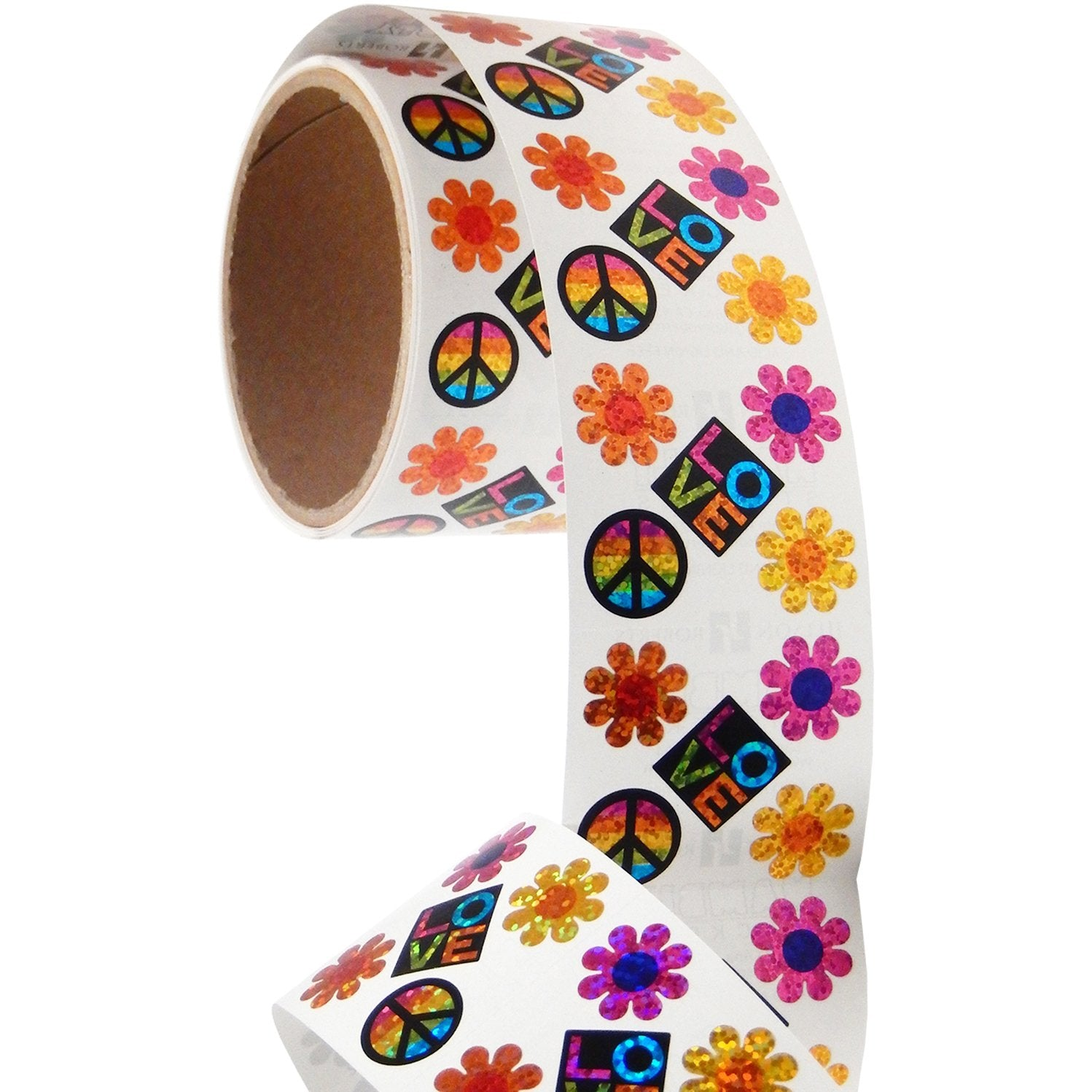 Jillson & Roberts Bulk Roll Prismatic Stickers, Peace / Love / Flower Power (100 Repeats) - Present Paper