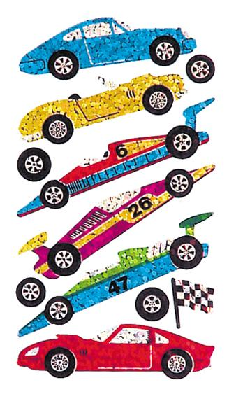 Jillson & Roberts Bulk Roll Prismatic Stickers, Racing and Sports Cars (50 Repeats) - Present Paper