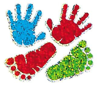 Jillson & Roberts Bulk Roll Prismatic Stickers, Mini Handprints (100 Repeats) - Present Paper