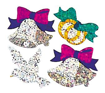 Jillson & Roberts Bulk Roll Prismatic Stickers, Mini Wedding Bells / Dove / Rings (100 Repeats) - Present Paper