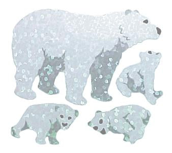Jillson & Roberts Bulk Roll Prismatic Stickers, Polar Bears (100 Repeats) - Present Paper