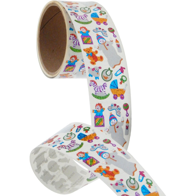 Jillson & Roberts Bulk Roll Prismatic Stickers, New Baby (50 Repeats)