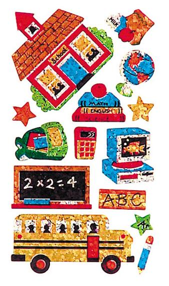 Jillson & Roberts Bulk Roll Prismatic Stickers, School Days (50 Repeats) - Present Paper