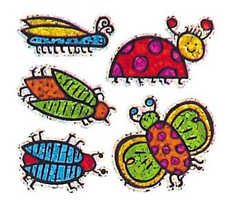 Jillson & Roberts Bulk Roll Prismatic Stickers, Mini Bugs (100 Repeats) - Present Paper