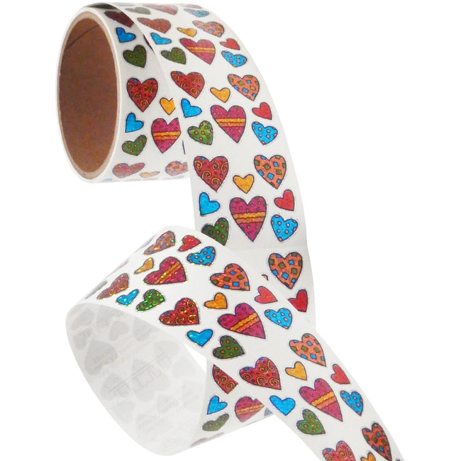 Jillson & Roberts Bulk Roll Prismatic Stickers, Mini Pattern Hearts (100 Repeats) - Present Paper