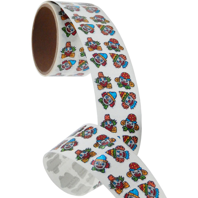 Jillson & Roberts Bulk Roll Prismatic Stickers, Clown Faces (100 Repeats) - Present Paper