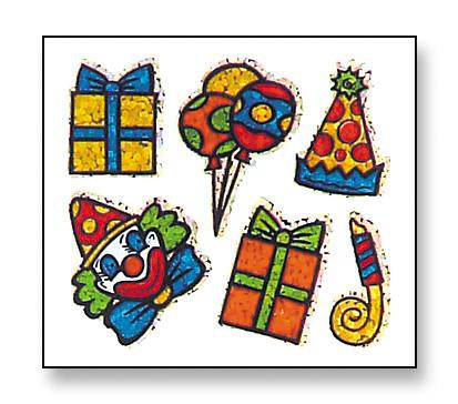 Jillson & Roberts Bulk Roll Prismatic Stickers, Party / Clown (100 Repeats) - Present Paper