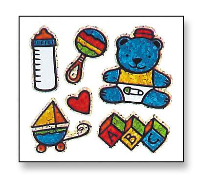 Jillson & Roberts Bulk Roll Prismatic Stickers, Baby Boy / Teddy (100 Repeats) - Present Paper
