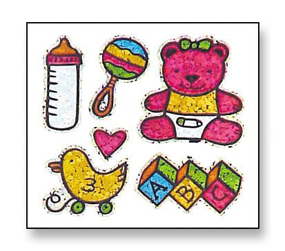 Jillson & Roberts Bulk Roll Prismatic Stickers, Baby Girl / Teddy (100 Repeats) - Present Paper