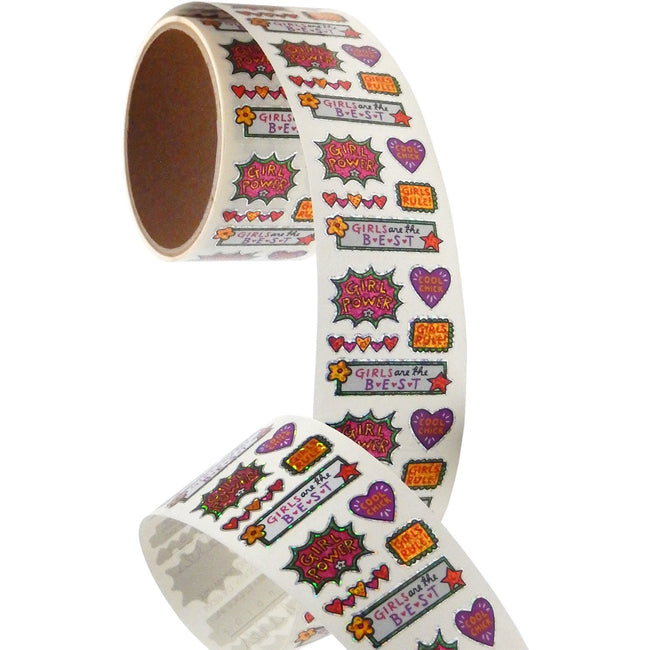 Jillson & Roberts Bulk Roll Prismatic Stickers, Mini Girl Power (100 Repeats) - Present Paper