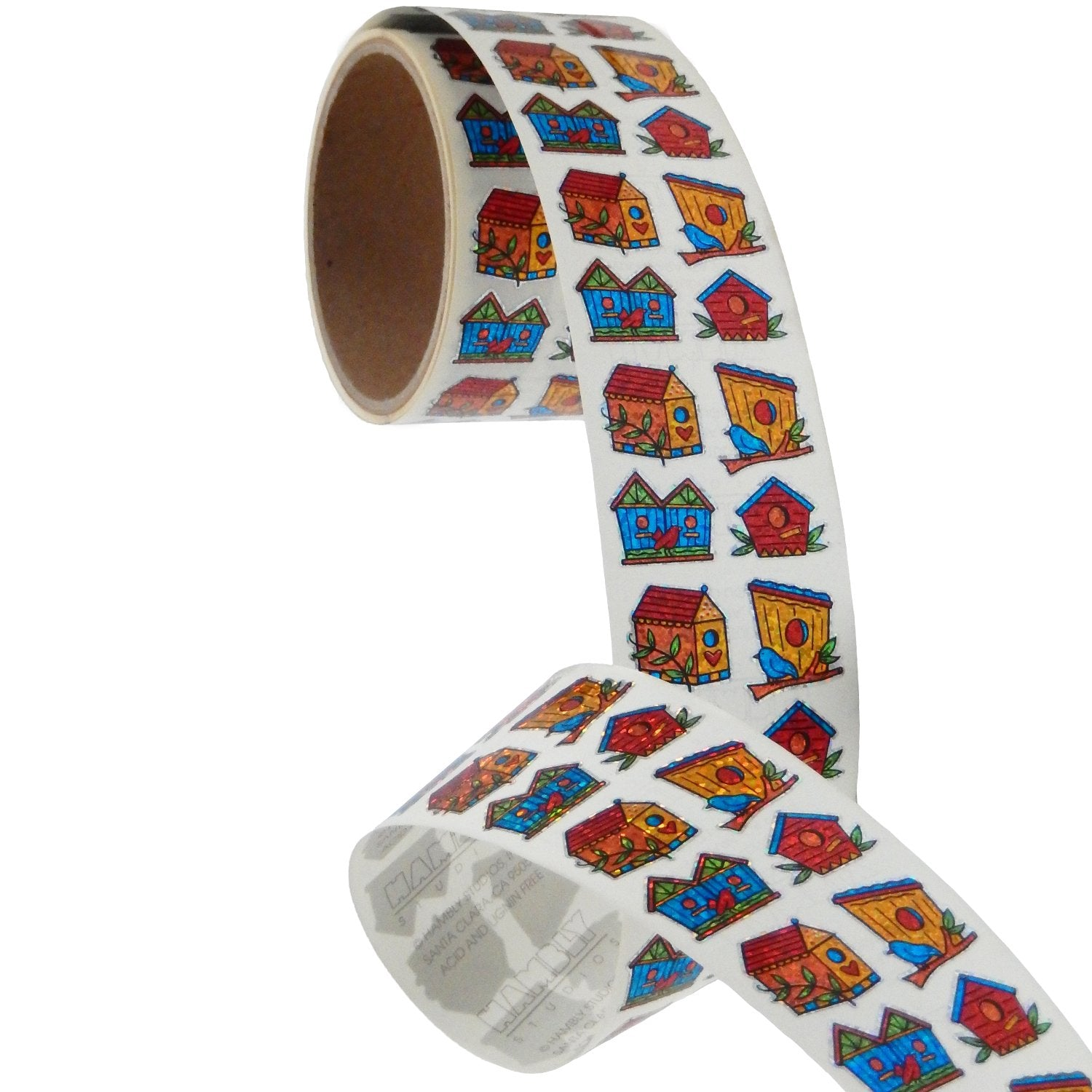 Jillson & Roberts Bulk Roll Prismatic Stickers, Mini Birdhouses (100 Repeats) - Present Paper